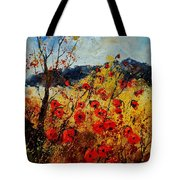 Red Poppies In Provence  Tote Bag by Pol Ledent