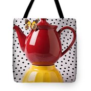 Red Teapot With Butterfly Tote Bag by Garry Gay