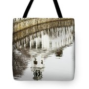 Reflections Of Church Tote Bag by Karol  Livote