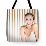 Retro Fashion Model Looking At Copyspace Tote Bag by Jorgo Photography - Wall Art Gallery