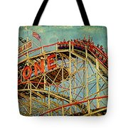 Riding The Cyclone Tote Bag by Chris Lord
