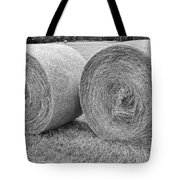 Round Hay Bales Black And White  Tote Bag by James BO  Insogna