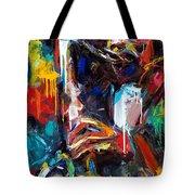Round Midnight Tote Bag by Debra Hurd