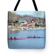 Rowing Along The Schuylkill River Tote Bag by Bill Cannon