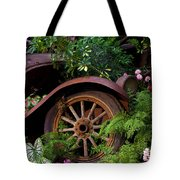 Rusty Truck In The Garden Tote Bag by Garry Gay