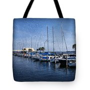Sailboats Tote Bag by Sandy Keeton