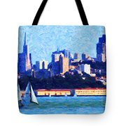 Sailing In The San Francisco Bay Tote Bag by Wingsdomain Art and Photography
