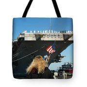 Sailors Aboard Aircraft Carrier Uss Tote Bag by Stocktrek Images