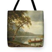 Salmon fishing on the Caspapediac River Tote Bag by Albert Bierstadt