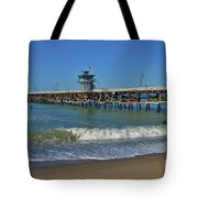 San Clemente Pier Tote Bag by Tommy Anderson
