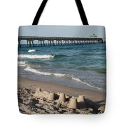 Sand Castles And Piers Tote Bag by Rob Hans