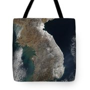 Satellite View Of Snowfall Along South Tote Bag by Stocktrek Images