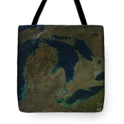 Satellite View Of The Great Lakes, Usa Tote Bag by Stocktrek Images