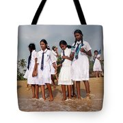 School Trip To Beach Tote Bag by Rafa Rivas