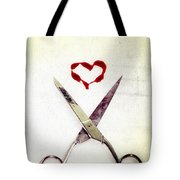 Scissors And Heart Tote Bag by Joana Kruse