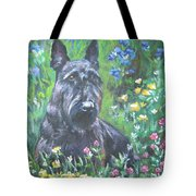 Scottish Terrier In The Garden Tote Bag by Lee Ann Shepard