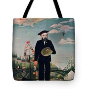 Self Portrait From Lile Saint Louis Tote Bag by Henri Rousseau
