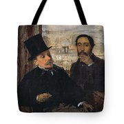Self Portrait With Evariste De Valernes Tote Bag by Edgar Degas