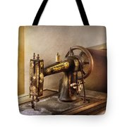 Sewing - A Black And White Sewing Machine  Tote Bag by Mike Savad