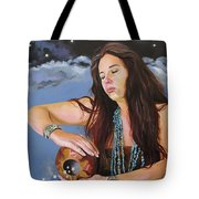 She Paints With Stars Tote Bag by J W Baker