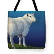 Sheep at the edge Tote Bag by James W Johnson