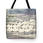 Sheep In Winter Tote Bag by Suzi Kennett