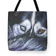 Siberian Husky Eyes Tote Bag by Lee Ann Shepard