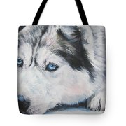 Siberian Husky Up Close Tote Bag by Lee Ann Shepard