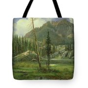 Sierra Nevada Mountains Tote Bag by Albert Bierstadt