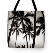 Silhouetted Surfers - Sep Tote Bag by Dana Edmunds - Printscapes