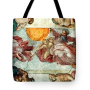 Sistine Chapel Ceiling Creation Of The Sun And Moon Tote Bag by Michelangelo