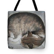 Sleeping Kitty Tote Bag by Jindra Noewi