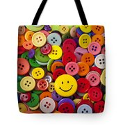 Smiley Face Button Tote Bag by Garry Gay