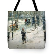 Snow Storm on Fifth Avenue Tote Bag by Childe Hassam