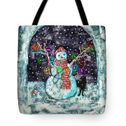 Snowman And Cat Tote Bag by Catherine Martha Holmes