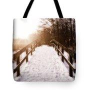 Snowy Bridge Tote Bag by Wim Lanclus