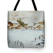 Snowy Village Tote Bag by Xueling Zou