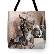 Soldiers Move To The Roof Of A Metal Tote Bag by Stocktrek Images