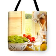 Spaghetti And Tomatoes In Country Kitchen Tote Bag by Amanda Elwell