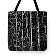 Spring Woods Simulated Woodcut Tote Bag by David Lane
