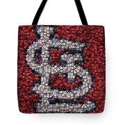 St. Louis Cardinals Bottle Cap Mosaic Tote Bag by Paul Van Scott
