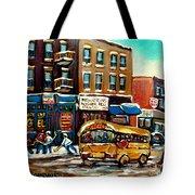 St. Viateur Bagel With Hockey Bus  Tote Bag by Carole Spandau