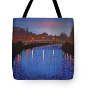 Starry Nights In Dublin Ha' Penny Bridge Tote Bag by John  Nolan