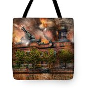 Steampunk - The War Has Begun Tote Bag by Mike Savad