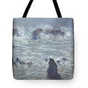 Storm Off The Coast Of Belle Ile Tote Bag by Claude Monet