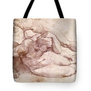 Study Of Three Male Figures Tote Bag by Michelangelo