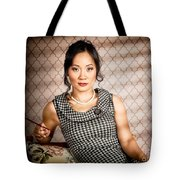 Stylish vintage asian pin-up lady with cigarette Tote Bag by Ryan Jorgensen