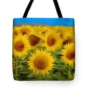 Sunflowers In The Field Tote Bag by Jeff Kolker