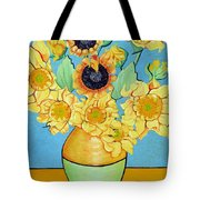 Sunflowers Tribute To Vincent Van Gogh II Tote Bag by Christine Belt