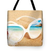 Sunglasses In The Sand Tote Bag by Amanda Elwell